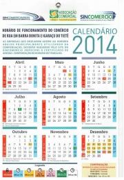 calendário do Sincomércio